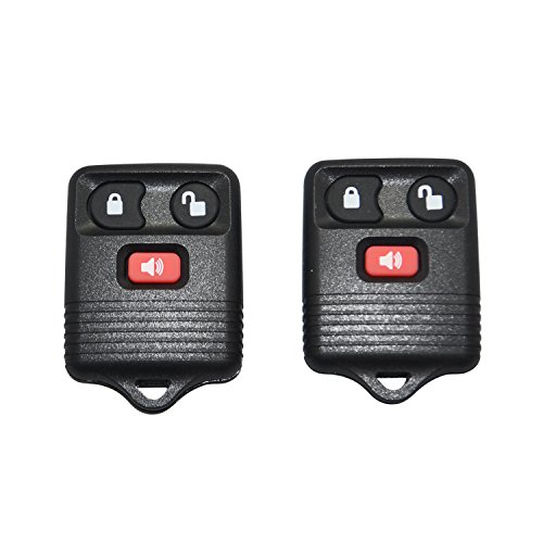 Pair Replacement Three Button Keyless Entry Remotes for Ford Vehicles - Black