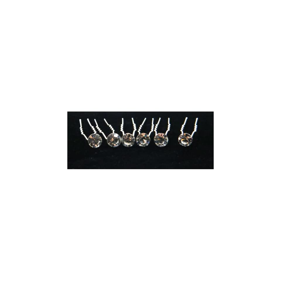 Single Clear Crystal Hair Pins (Pack of 6) HS 0001