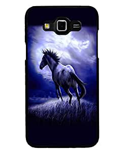 Fuson Premium Wild Horse Metal Printed with Hard Plastic Back Case Cover for Samsung Galaxy Grand 3 G7200 G7202