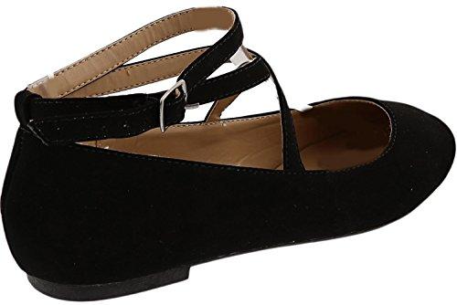 Top Moda Women's Brea-3 Strappy Ballet Flat (10 B(M) US, Black)