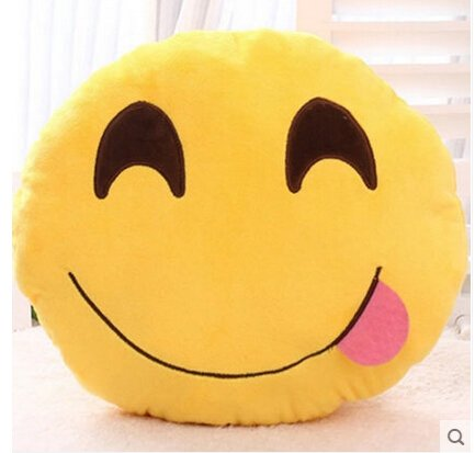 Soft Emoji Smiley Emoticon Yellow Round Cushion Pillow Stuffed Plush Toy Doll stuffed wild doll toys african wolf spotted hyenas simulation animals plush toy children dolls rare