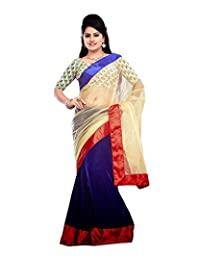 Bano Tradelink Women's Net Saree (Blue)