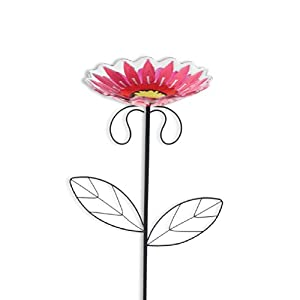 Silvestri Glass and Iron Bird Feeder Stake, 22-Inch, Pink