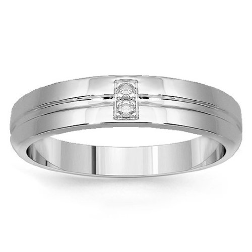 14K White Gold Womens Diamond Wedding Band 0.03 Ctw - 6