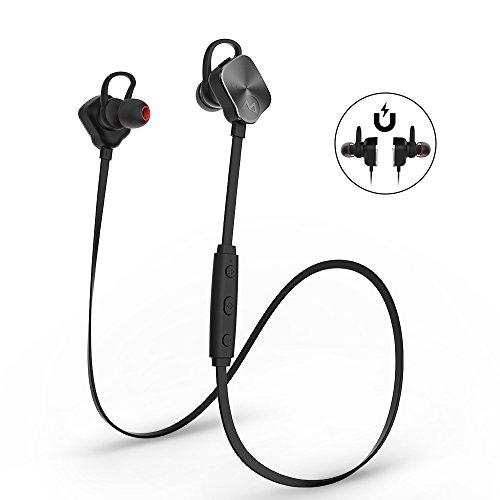 Mpow Magneto スポーツイヤホン Bluetooth4.1ヘッドセット イヤーバッド マイク内蔵 ハンズフリー 通話 CVC6.0ノイズキャンセリング イヤーフック付き iPhone&Android スマートフォンなど対応【技適認証済み】(改良版)