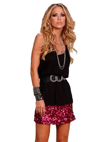 Fuchsia Confetti Sequin Mini Skirt