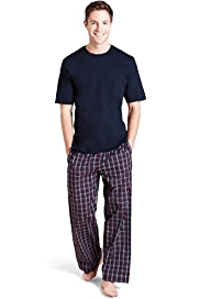 Pure Cotton Crew Neck Checked Pyjamas