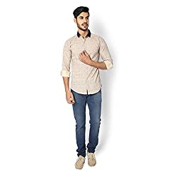 STRAK Mens' Pure Cotton Khaki & Blue Abstract Designer Boat Curve Style Shirt With Full Sleeve Size:-XL/44