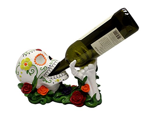 Day of the Dead Sugar Skull Wine Holder Decoration