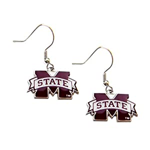Mississippi State Bulldogs Dangle Logo Earring Set Ncaa Charm Gift by aminco