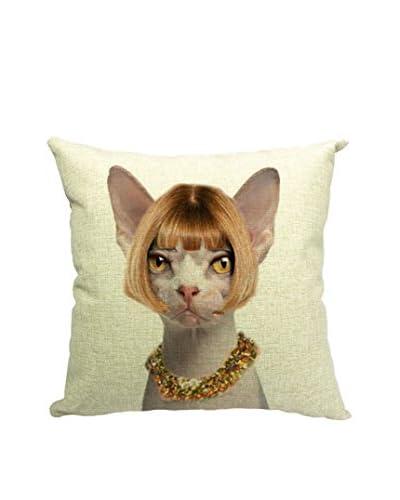 Lo+deModa Funda De Cojín Lady Cat Multicolor