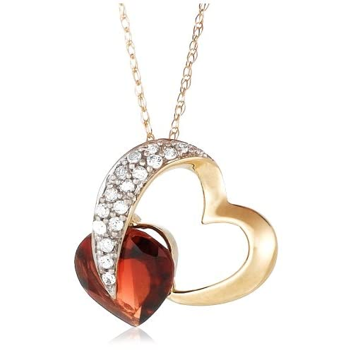 10k Yellow Gold Diamond and Garnet Heart Shaped Pendant