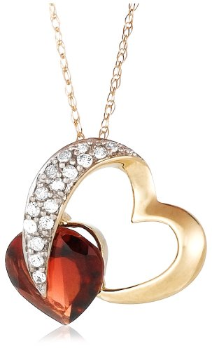 Garnet and Diamond Pendant in 10k White Gold