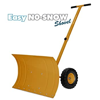 PREMIUM Heavy Duty Rolling Snow Shovel with Rotatable Steel Blade, 5 Way Adjustable Handle and Extra Large Rubber Wheels for Easy Rolling. (Gold)