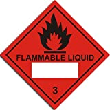 Flammable Liquid - 3 Sign - Adhesive Vinyl - 230x230mm(HA-028-AG)