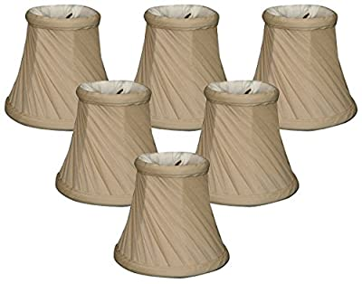 "Royal Designs 5"" Twisted Bell Chandelier Lamp Shade, Beige, Set of 6, 3 x 5 x 4.5 (CS-716BG-6)"