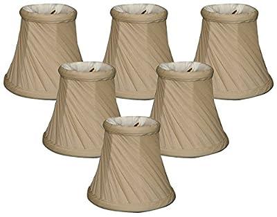 "Royal Designs 5"" Twisted Bell Chandelier Lamp Shade, Beige, Set of 6, 3 x 5 x 4.5 (CS-716BG-6)"