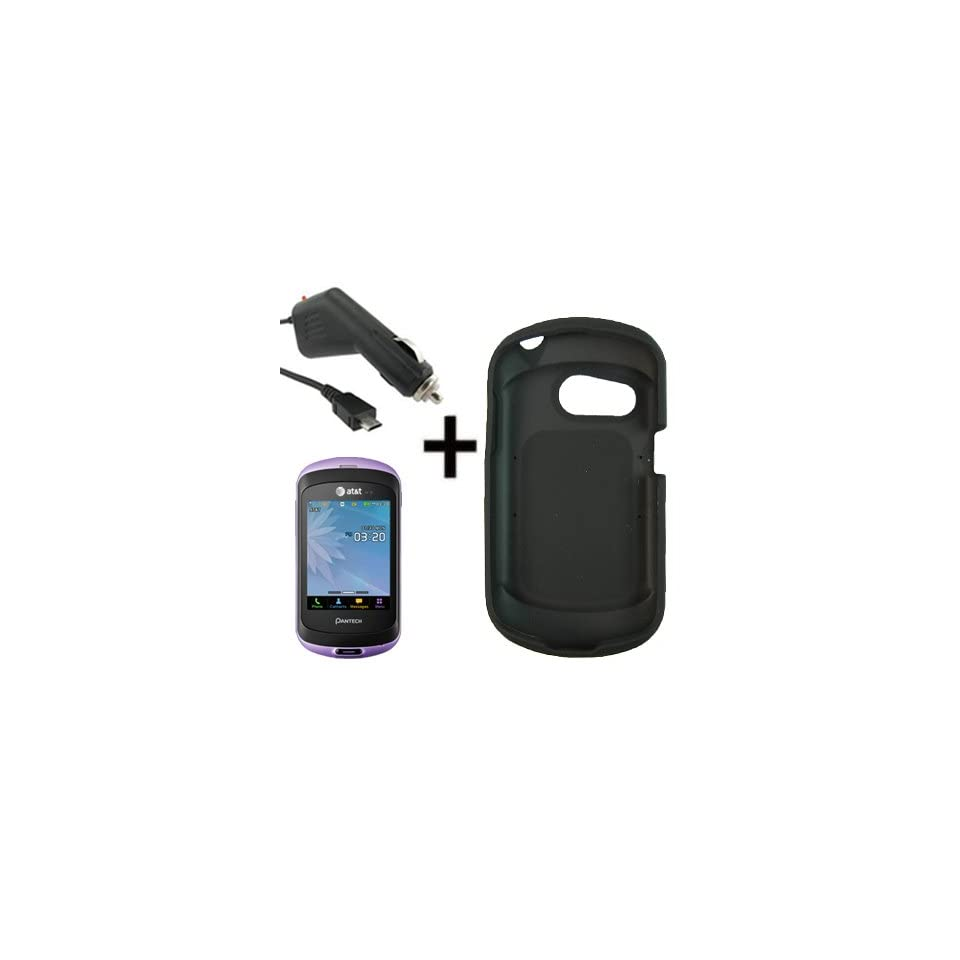 AT&T OEM Sleeve Gel Shell Cover Skin Case for AT&T Pantech Swift P6020 + Car Charger Black