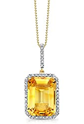 """Victoria Kay Gemstone and 1/4ct White Diamond Pendant in Sterling Silver, 18"""""""