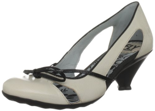 Fly London Women's Lonni Off White/Black Mary Janes P142201004 5 UK