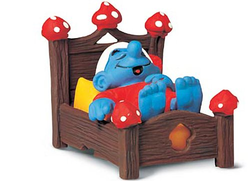 Buy Low Price Schleich Smurf in Bed: Smurf in a Diorama Mini Figure Series [402409] (B004RWI11C)