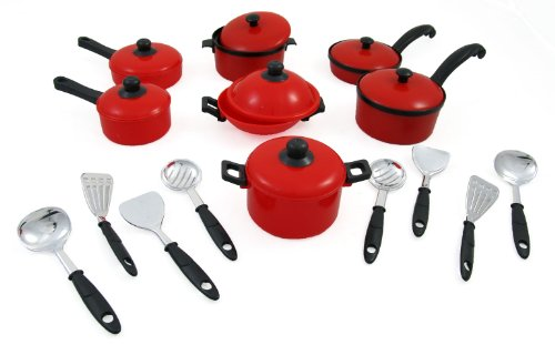 15 piece miniature pots and pans kitchen cookware playset for kids with cooking utensils set. Black Bedroom Furniture Sets. Home Design Ideas
