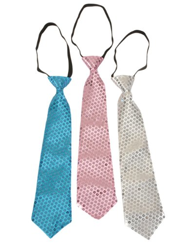 Lot of 12 Adults Mens Womens Funky Retro Sequin Pink Silver Blue Neckties