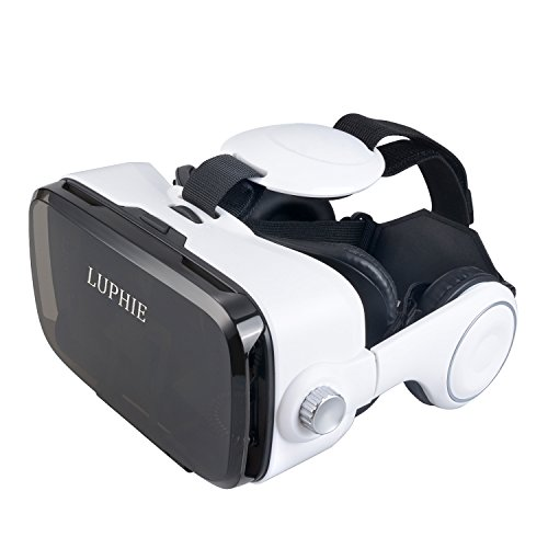 LUPHIE 3D VR Virtual Reality Headset with Stereo Headphone and Adjustable strap for 4.7-6.2 inch Smartphones