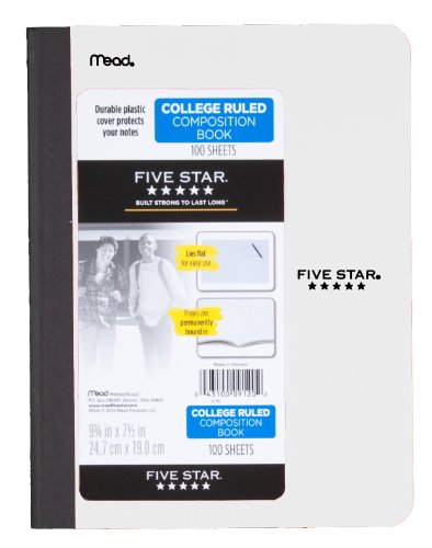 043100091202 - Five Star Composition Book, College Ruled, 1 Subject, 7.5 x 9.75 Inches, 100 Sheets, Corner Tabs, Assorted Colors (09120) carousel main 2