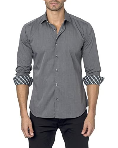 Jared Lang Men's Spread Collar Shirt with Contrast Collar and Cuff