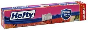 Hefty OneZip Slider Bags, Jumbo 2.5 Gallon Multi-Purpose, 12 Count (Pack of 3) 36 Bags Total