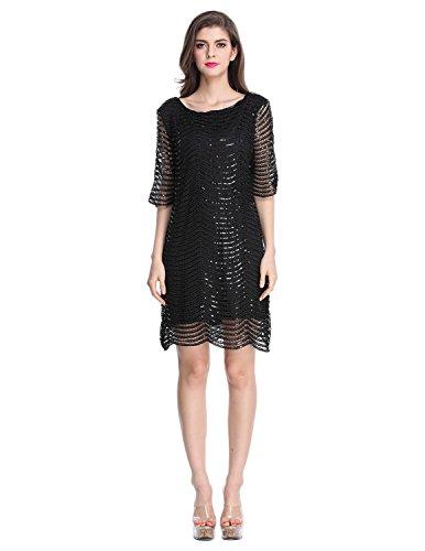 E.JAN1ST Women's Metallic Dress Boatneck 3/4 Sleeve Wave Black Shift Party Dresses, Black, tagsize2XL=USsize10
