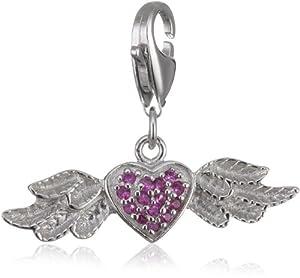 """Rafaela Donata Charm """"Coeur"""" argent oxyde de zirconium rose 60600119"""