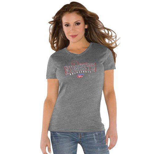 NBA Touch by Alyssa Milano Denver Nuggets Ladies Gray V-neck Triblend T-shirt (Medium) at Amazon.com