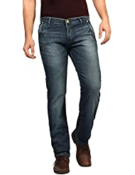 FN Jeans Stylish Navy Blue Slim Fit Low Rise Stone Wash Denim For Men | FNJ9149