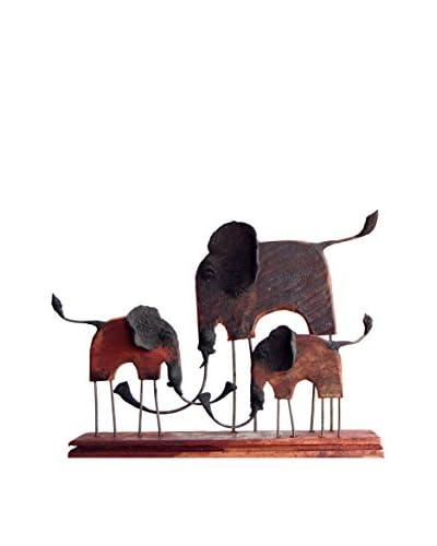 Asian Art Imports Small Chin Elephant Family, Natural Wood