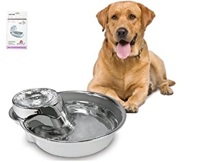 SmartCat Pioneer Pet Stainless Big Max Pet Fountain 128 OZ With 4 Filters