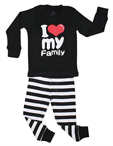 "Elowel ""I Love Family"" 2 Piece Pajama Set 100% Cotton - 3 Toddler front-964421"