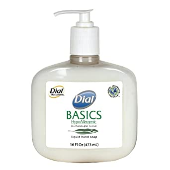 Dial 1747034 Basics Honeysuckle Floral White Pearl Hypoallergenic Liquid Hand Soap, 16 oz. Pump Bottle (Pack of 12)