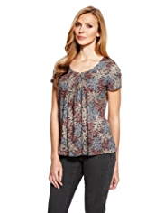 M&S Collection 7 Pleat Paisley Print Top with StayNEW™