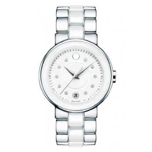 3bf073dd1 Movado Women s 0606540 Cerena Stainless Steel White Ceramic Case Watch