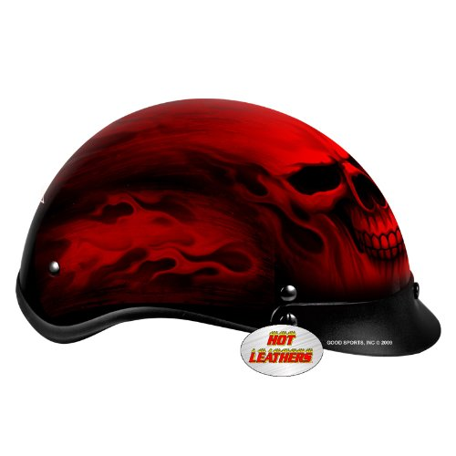 Hot Leathers DOT Approved Red Skull Helmet  (HLD1018, Black, X-Large)