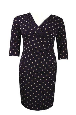 Jessica Howard Surplice Neckline Polka Dot Print Jersey Sheath Dress (Plus Size) (16W)