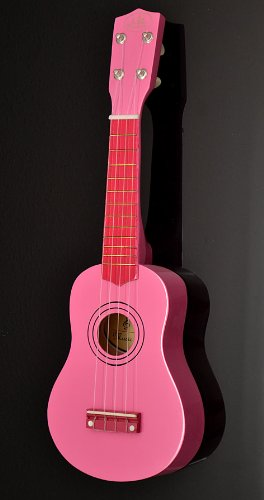 Ts-Ideen 5200 Children's Toy Guitar Wooden for Age 3 Years and Above with Bag and Replacement Strings 52 cm Pink