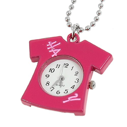Rosallini Woamn Black Arabic Number Fuchsia Shirt Design Pendant Necklace Qaurtz Watch