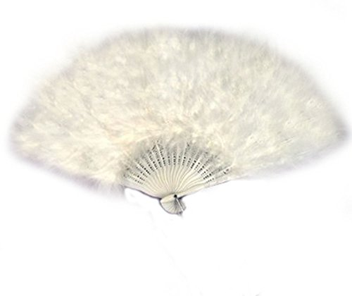 SACAS Large White Feather Hand Fan for costume, halloween, party, dance (Feather Fans compare prices)