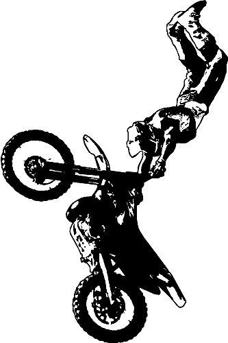MOTORCROSS/DIRT BIKE WALL STICKERS DECALS GRAPHICS ART, BLACK