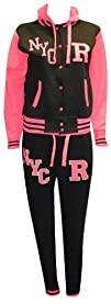 Ladies Neon Pink Varsity Style Hooded…