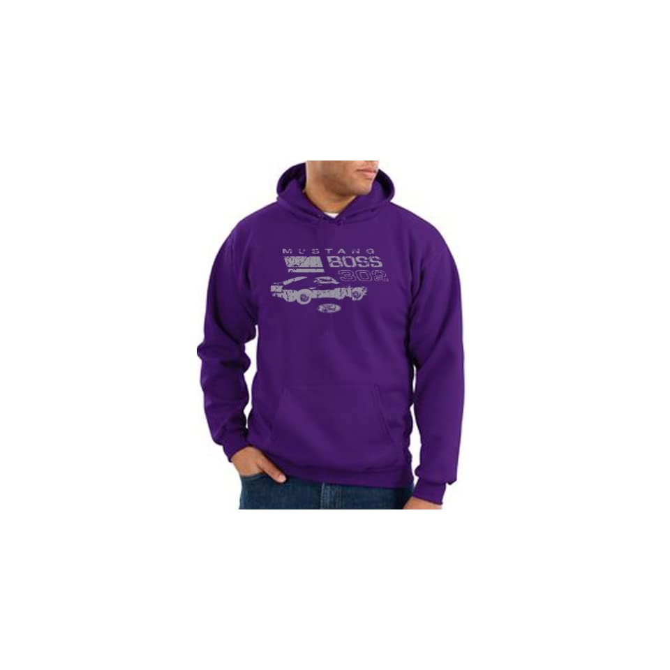 Ford Distressed Mustang Hoodie   Boss 302 Mens Hooded Sweat Shirt   Purple Clothing