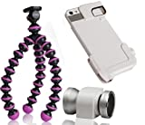 Olloclip Quick-Flip Case & 4-in-1 Lens System Kit (Silver/White) Including Fisheye, Wide Angle, 10x Macro and 15x Macro Lens For the Apple iPhone 5/5s with Mini Flexible Travel Tripod (Fuchsia)